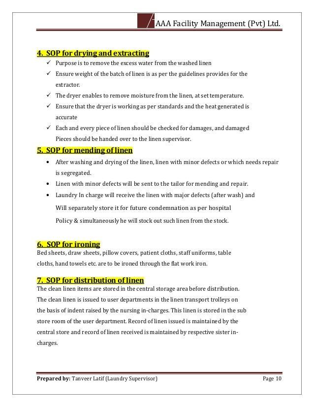Standard Operating Procedure of Laundry Department