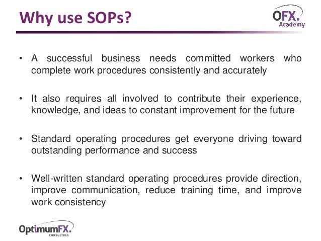 Standard Operating Procedures Sops