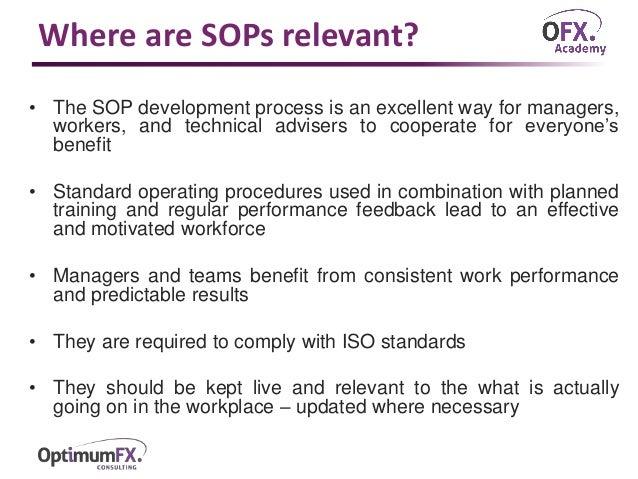 ... 6. Where Are SOPs Relevant?