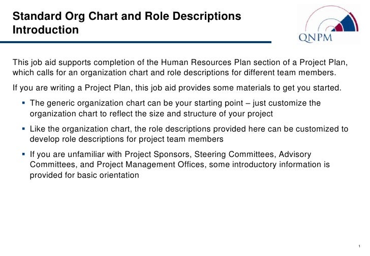 Standard Org Chart and Role DescriptionsIntroductionThis job aid supports completion of the Human Resources Plan section o...