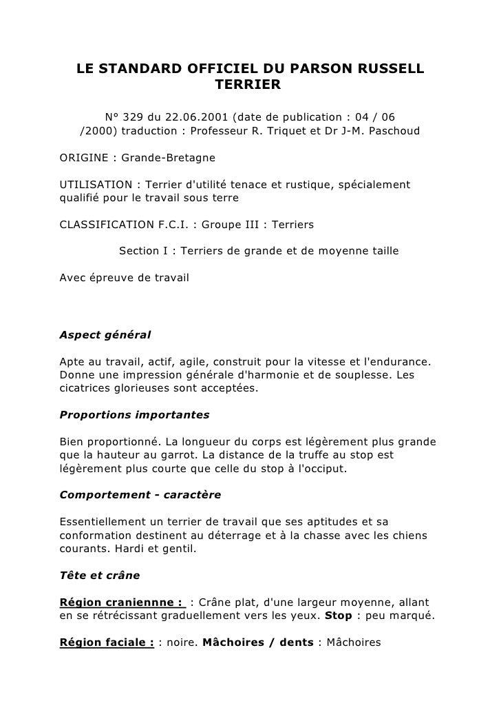 LE STANDARD OFFICIEL DU PARSON RUSSELL                  TERRIER       N° 329 du 22.06.2001 (date de publication : 04 / 06 ...