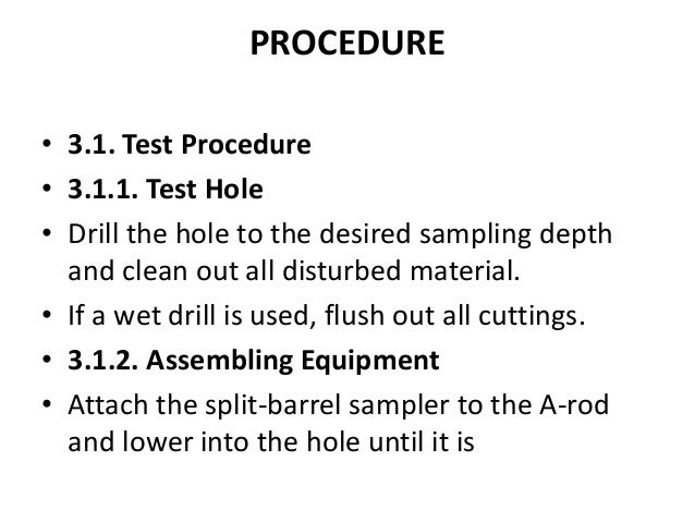 Penetration test procedure