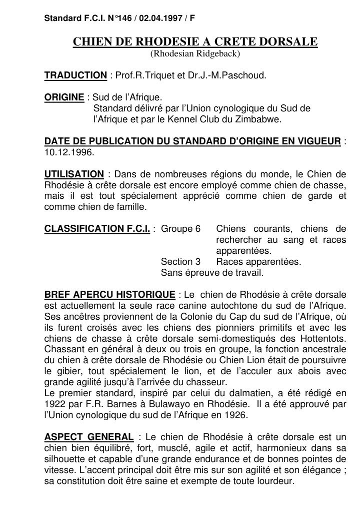 Standard F.C.I. N°146 / 02.04.1997 / F       CHIEN DE RHODESIE A CRETE DORSALE                          (Rhodesian Ridgeba...