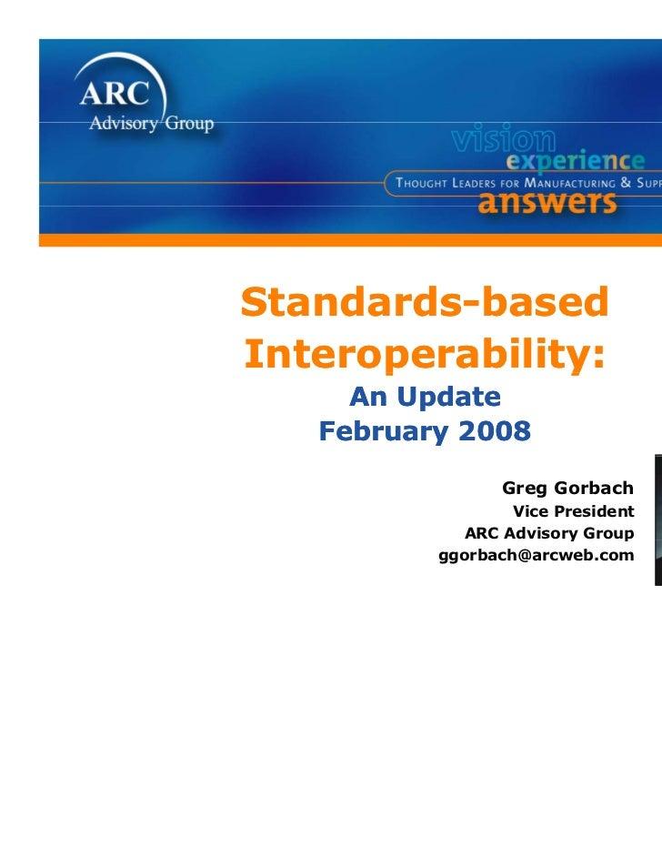 Standards-basedSt d d b        dInteroperability:      p        y     An Update   February 2008                 Greg Gorba...