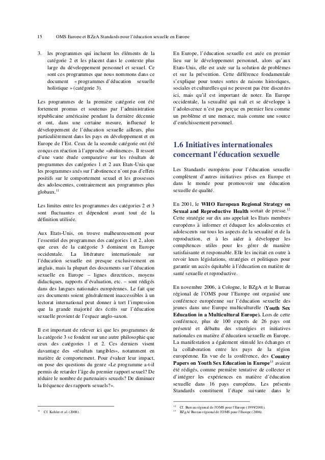 19  OMS Europe et BZgA Standards pour l'éducation sexuelle en Europe  Digression sur la notion de « Citoyenneté sexuelle »...