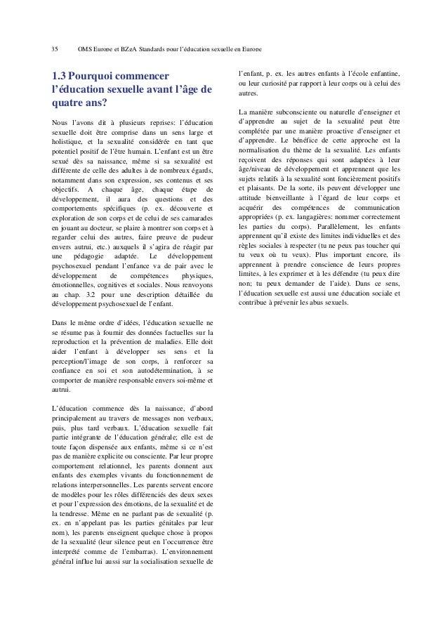 Standards oms fr pour la sexualisation des plus petits, en français