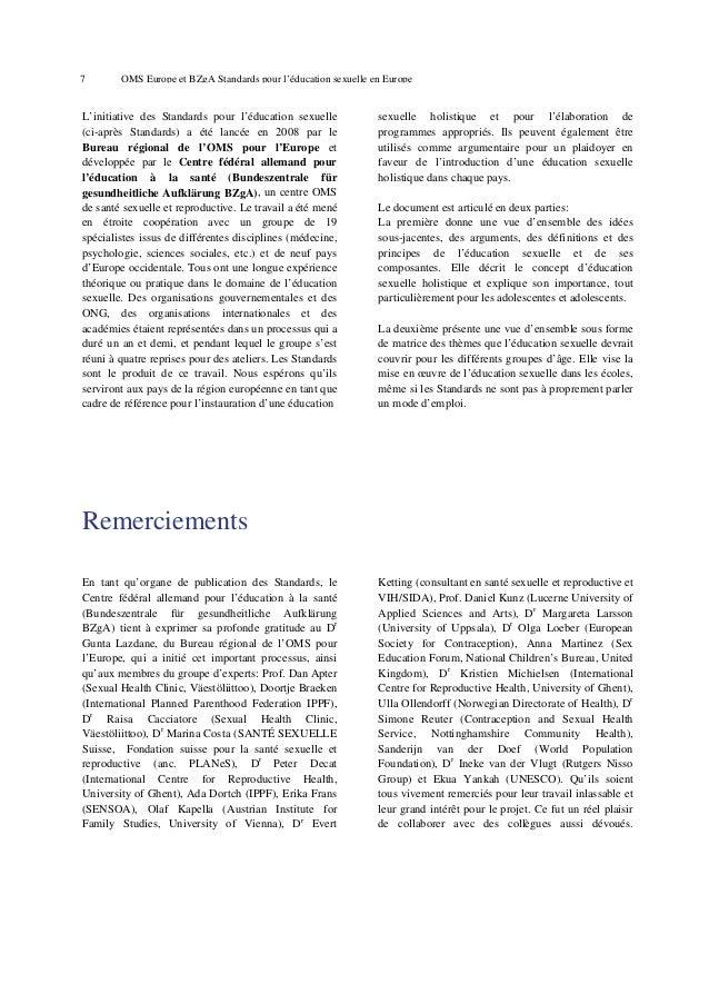 11  OMS Europe et BZgA Standards pour l'éducation sexuelle en Europe  1.2 Contexte historique de l'éducation sexuelle scol...