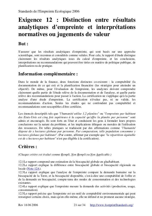 Standards de l'Empreinte Ecologique 2006 Exigence 12 : Distinction entre résultats analytiques d'empreinte et interprétati...