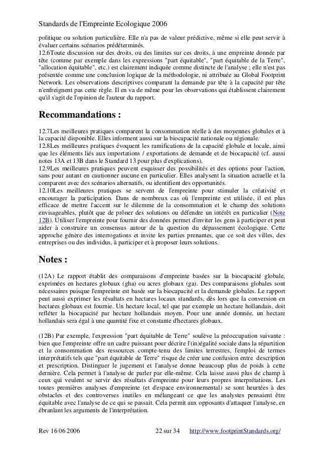 Standards de l'Empreinte Ecologique 2006 politique ou solution particulière. Elle n'a pas de valeur prédictive, même si el...