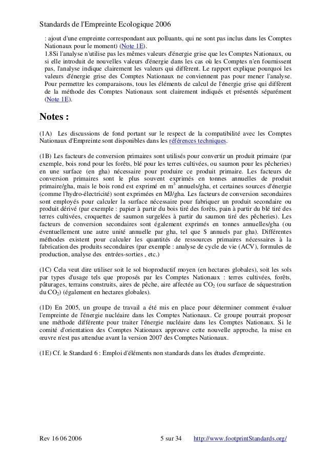 Standards de l'Empreinte Ecologique 2006 : ajout d'une empreinte correspondant aux polluants, qui ne sont pas inclus dans ...