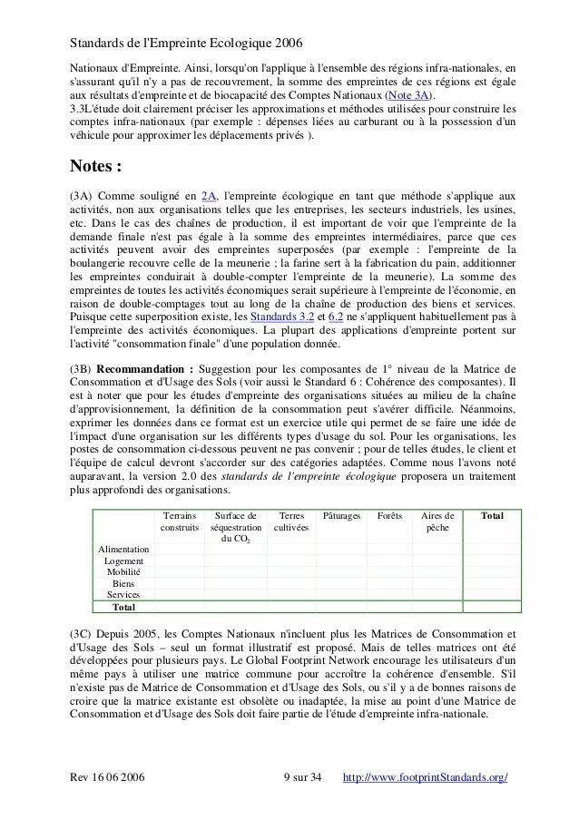Standards de l'Empreinte Ecologique 2006 Nationaux d'Empreinte. Ainsi, lorsqu'on l'applique à l'ensemble des régions infra...