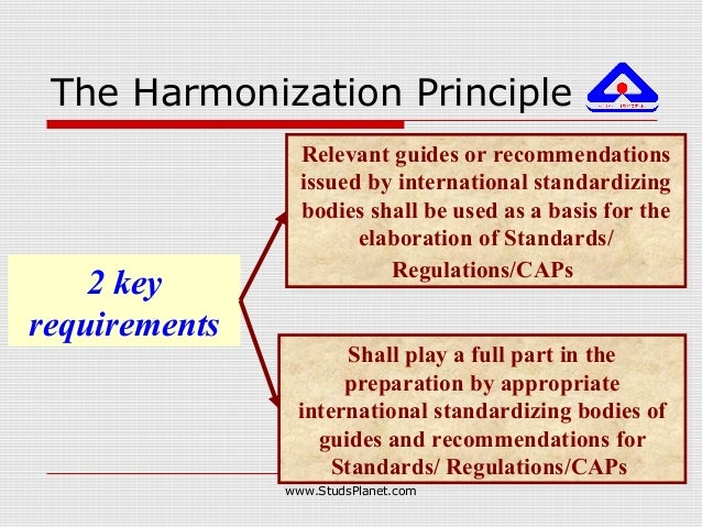 The Harmonization Principle 2 key requirements Shall play a full part in the preparation by appropriate international stan...