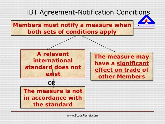TBT Agreement-Notification Conditions Members must notify a measure when both sets of conditions apply A relevant internat...
