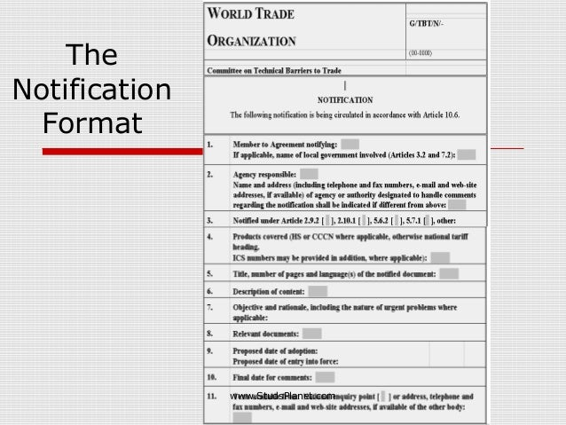 The Notification Format www.StudsPlanet.com
