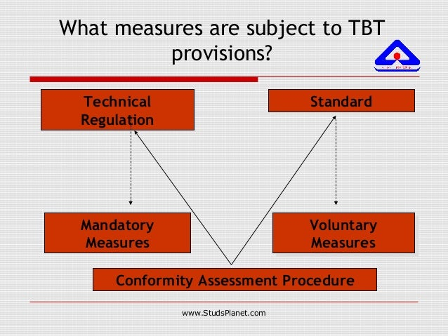 What measures are subject to TBT provisions? Technical Regulation Standard Mandatory Measures Voluntary Measures Voluntary...