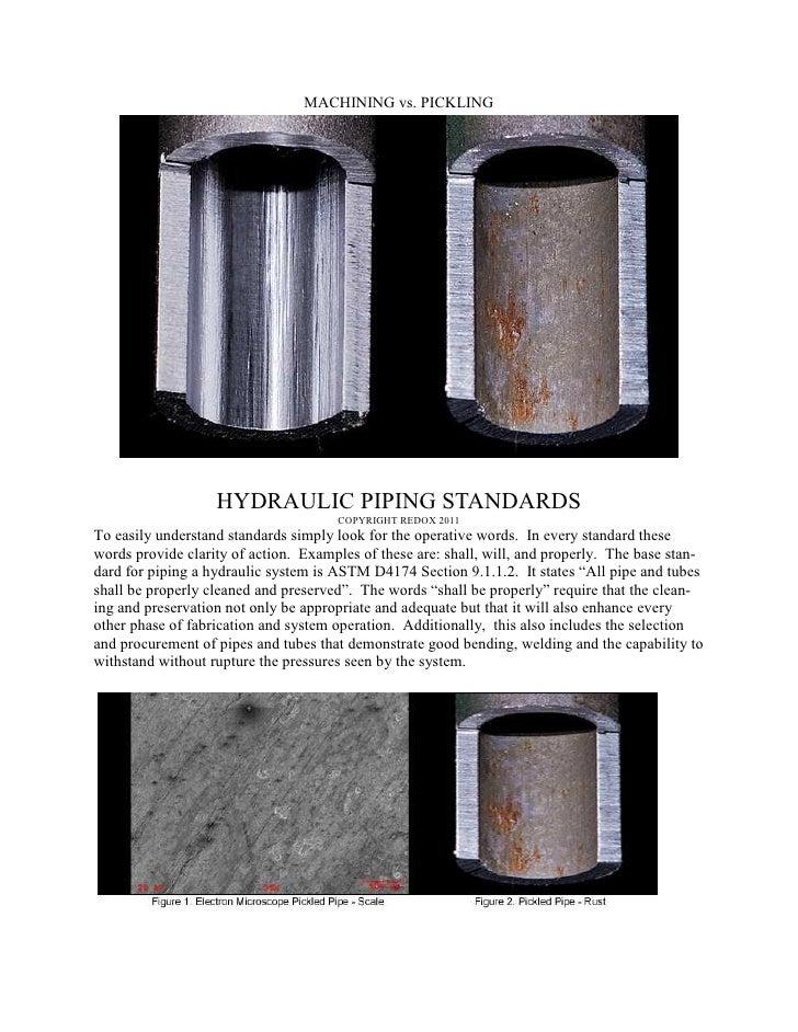 MACHINING vs. PICKLING                   HYDRAULIC PIPING STANDARDS                                      COPYRIGHT REDOX 2...