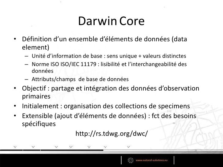 Historique<br />TDWG/CODATA (Committee on Data for Science and Technology)<br />Sous groupe  « Access to Biological Colle...