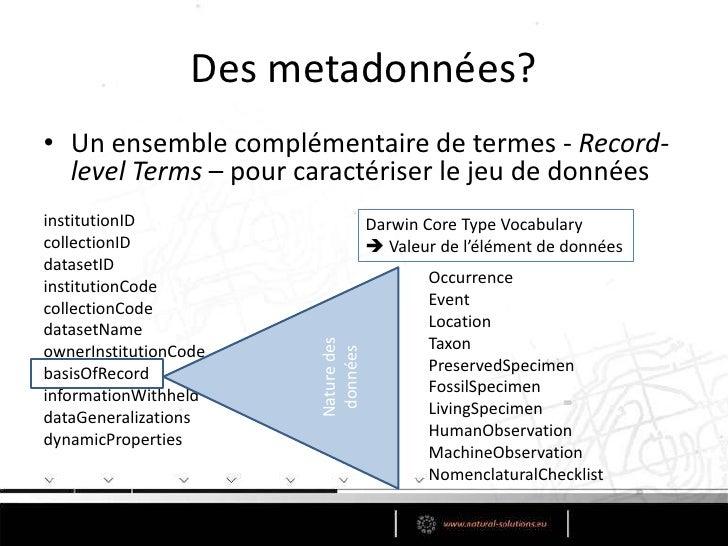 Les catégories <br />172 éléments de données <br />Organisés en 8 catégories/classes<br />taxonID<br />scientificNameID<br...