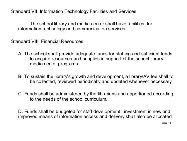 standards for philippine school libraries Standard format school library and media centers academic libraries  special libraries public libraries standard i mission, goals and objectives.