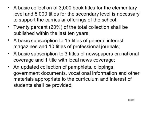 standards for philippine school libraries Standard format school library and as well as uphold and promote the principles of high ethical standards of library standards for philippine libraries.