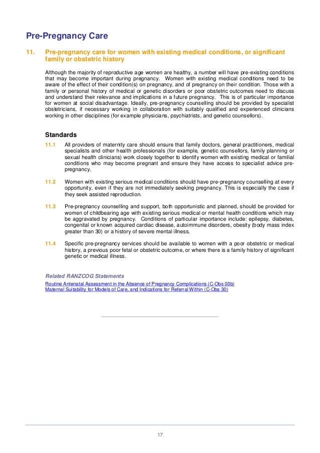 Standards in maternity care (c obs 41) review mar 14