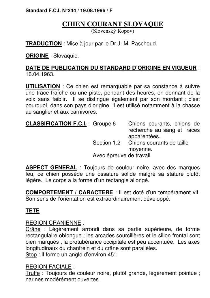 Standard F.C.I. N°244 / 19.08.1996 / F               CHIEN COURANT SLOVAQUE                            (Slovenský Kopov)TR...