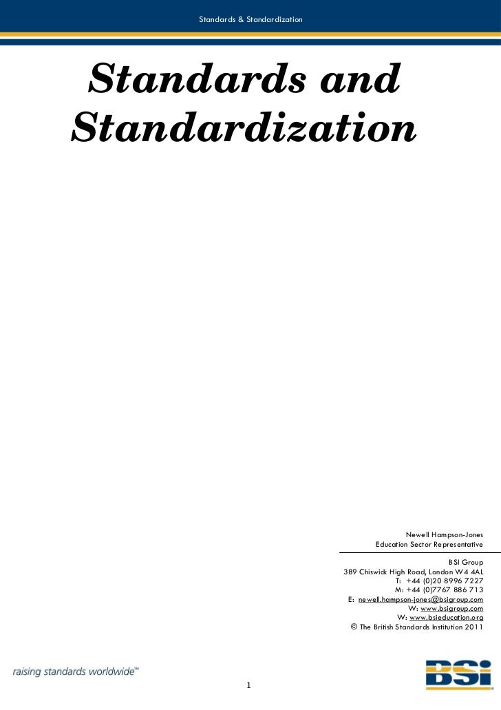 Standards & Standardization Standards andStandardization                                                    Newell Hampson...