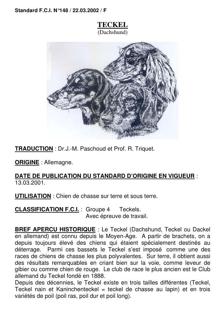 Standard F.C.I. N°148 / 22.03.2002 / F                                  TECKEL                                  (Dachshund...