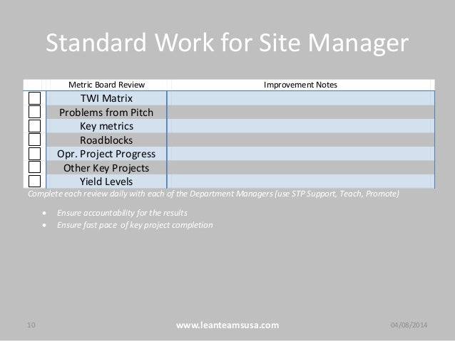Standard Work for Site Manager 10 www.leanteamsusa.com 04/08/2014 Metric Board Review Improvement Notes TWI Matrix Problem...