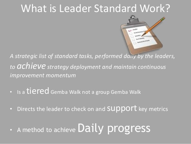 A strategic list of standard tasks, performed daily by the leaders, to achieve strategy deployment and maintain continuous...
