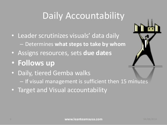 Daily Accountability • Leader scrutinizes visuals' data daily – Determines what steps to take by whom • Assigns resources,...