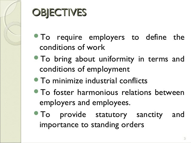 objectives of standing order act 1946
