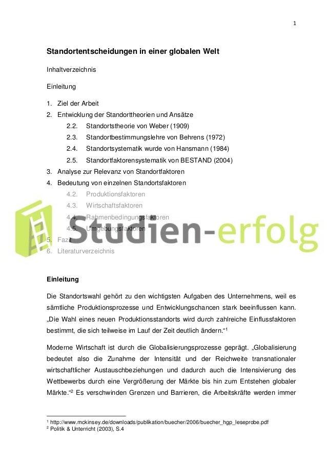 1 Standortentscheidungen in einer globalen Welt Inhaltverzeichnis Einleitung 1. Ziel der Arbeit 2. Entwicklung der Standor...