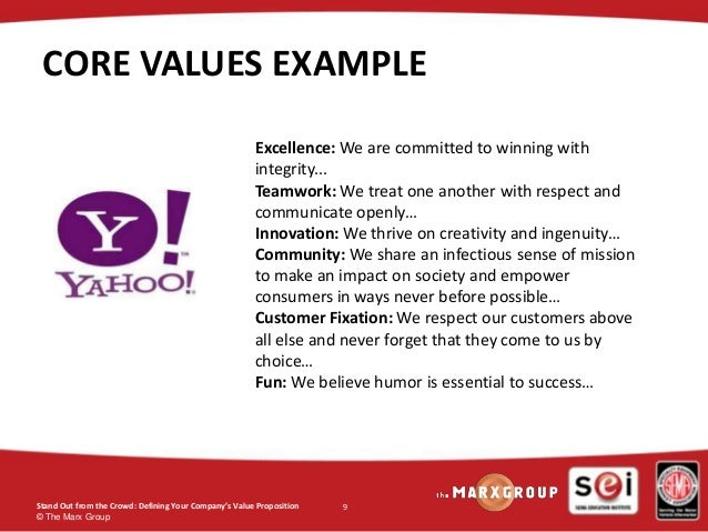 Defining your company's core values.