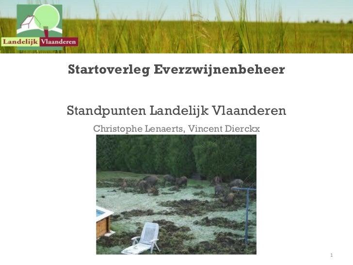Startoverleg EverzwijnenbeheerStandpunten Landelijk Vlaanderen   Christophe Lenaerts, Vincent Dierckx                     ...