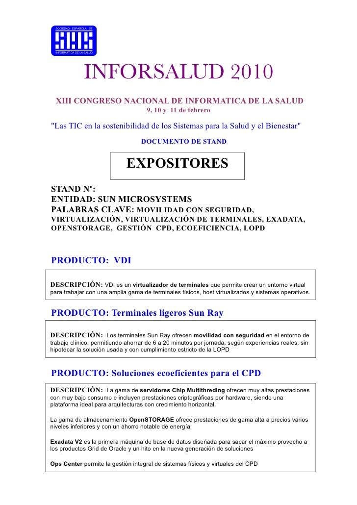 INFORSALUD 2010   XIII CONGRESO NACIONAL DE INFORMATICA DE LA SALUD                                     9, 10 y 11 de febr...