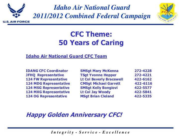Idaho Air National Guard   2011/2012 Combined Federal Campaign                   CFC Theme:                50 Years of Car...