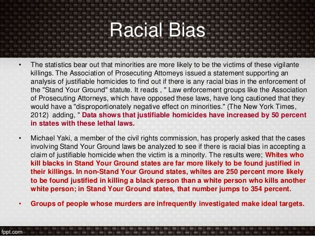 an analysis of stand your ground law Racial inequity in stand your ground laws does not stop at innocent black   which analyzed fbi crime statistics from 2005-10, found the laws,.