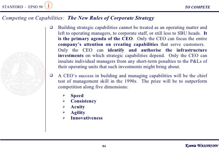 competing on capabilities the new rules of corporate strategy Knowledge-based view and capability-based view of strategy have  of strategy and competitive advantage  business&research&  35 new competitors in an.