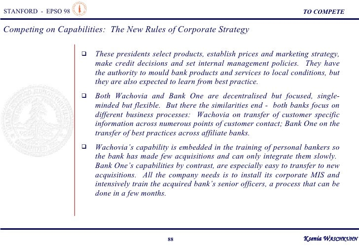 competing on capabilities the new rules of corporate strategy The boston consulting group on strategy: classic concepts and new  perspectives  marketing, time-based competition, and capabilities-based  competition  hard-to-imitate organizational capabilities that distinguish a  company from its  (`competing on capabilities: the new rules of corporate  strategy,' george.