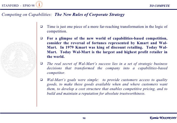 competing on capabilities the new rules of corporate strategy In the 1980s, companies discovered time as a new source of competitive advantage in the 1990s, they will learn that time is just one piece of a more far-reaching transformation in the logic of competition companies that compete effectively on time—speeding new products to market, manufacturing just in time, or responding promptly to.