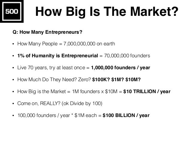 How Many VCs? • How Many Founders? 1,000,000 founders / year • (ok, divide by 100, let's say 10,000 founders / year) • 1 V...