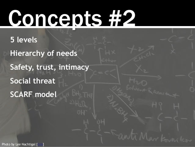 Concepts #2 5 levels Hierarchy of needs Safety, trust, intimacy Social threat SCARF model Photo by Lee Nachtigal [link]