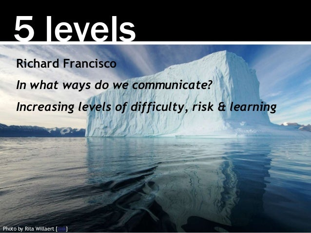 5 levels Photo by Rita Willaert [link] Richard Francisco In what ways do we communicate? Increasing levels of difficulty, ...