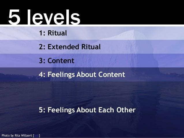 5 levels1: Ritual 2: Extended Ritual 3: Content 4: Feelings About Content 5: Feelings About Each Other Photo by Rita Willa...