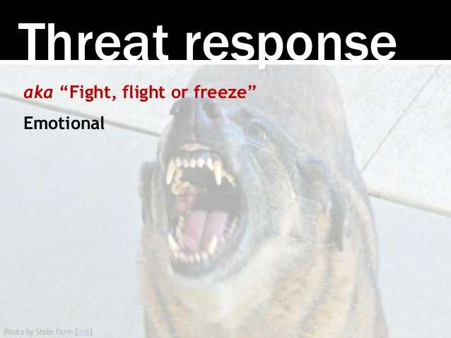 """Photo by State Farm [link] Threat response aka """"Fight, flight or freeze"""" Emotional"""