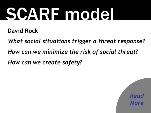 SCARF model David Rock What social situations trigger a threat response? How can we minimize the risk of social threat? Ho...