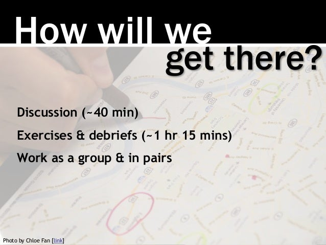 How will we Discussion (~40 min) Exercises & debriefs (~1 hr 15 mins) Work as a group & in pairs get there? Photo by Chloe...