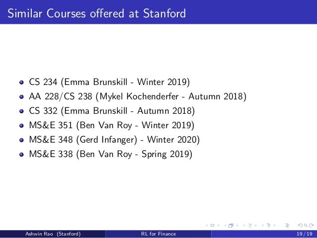 Stanford CME 241 - Reinforcement Learning for Stochastic