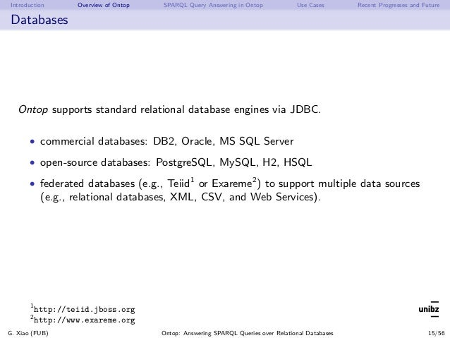Introduction Overview of Ontop SPARQL Query Answering in Ontop Use Cases Recent Progresses and Future Databases Ontop supp...